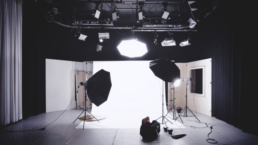 Stock image of a television studio set.