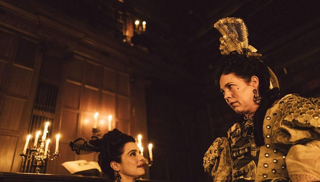 Promo photo of Olivia Colman and Rachel Weisz from The Favourite